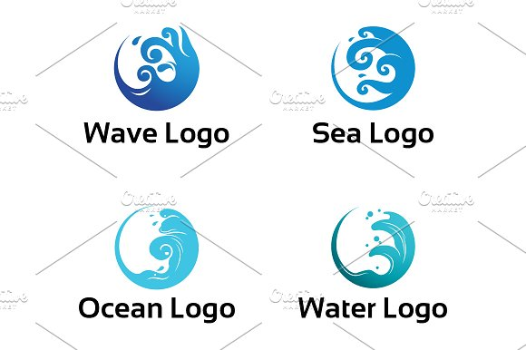 circle wave ocean water isolated logo templates creative market