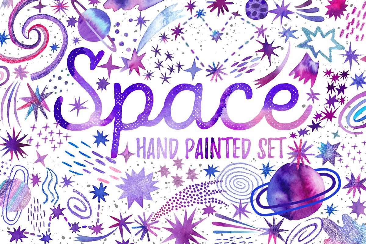 Watercolor space. Cosmic set