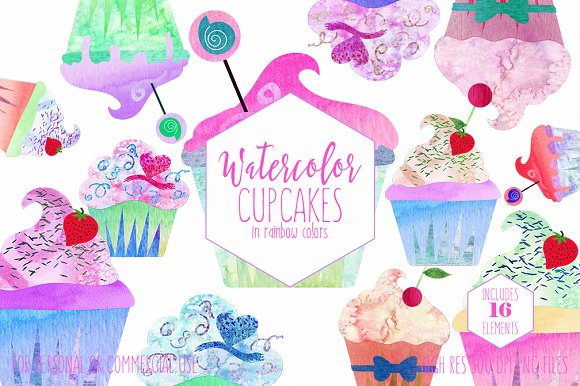Cute Cupcakes Watercolor Clipart