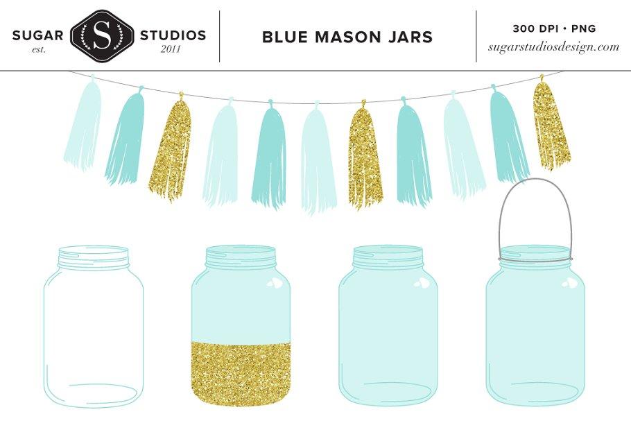 Mason jar teal. Blue jars with tassel
