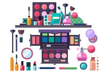 Beauty store. Cosmetics set