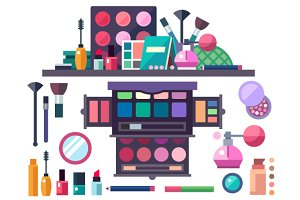 Beauty store. Cosmetics set