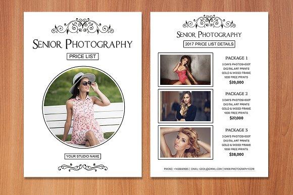 senior photography price list flyer templates creative market