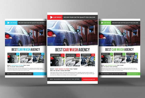 Car Wash Flyer Templates-Graphicriver中文最全的素材分享平台