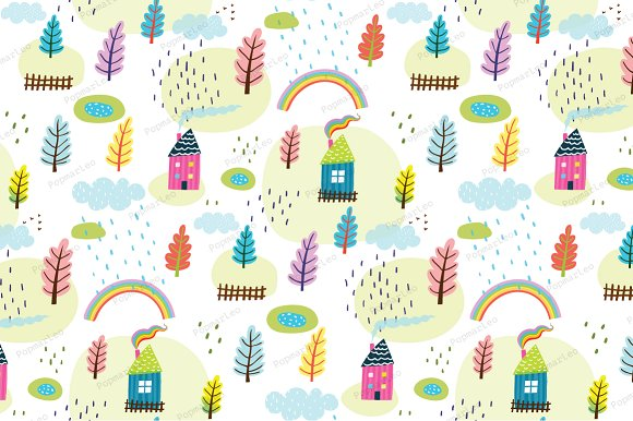 House and Landscape Seamless pattern