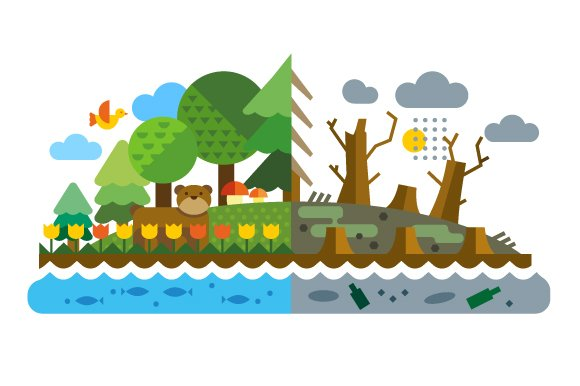 Vector Flat Ecological Problems Illustrations Creative