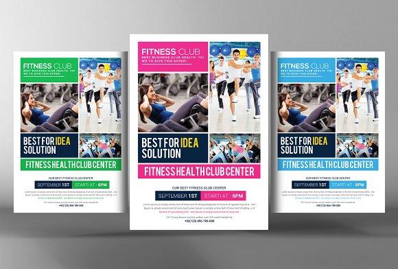 fitness health club flyer template flyer templates creative market