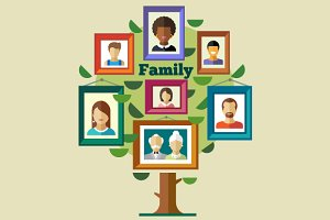 Vector flat family tree