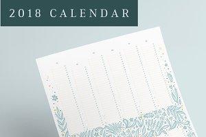 Flowery 2018 Calendar