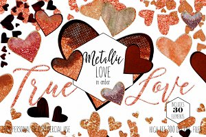 Amber Metallic Hearts Love Clipart