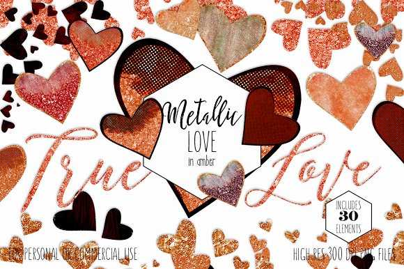 Amber Metallic Hearts Love Clipart in Illustrations