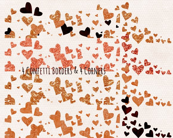 Amber Metallic Hearts Love Clipart in Illustrations - product preview 2