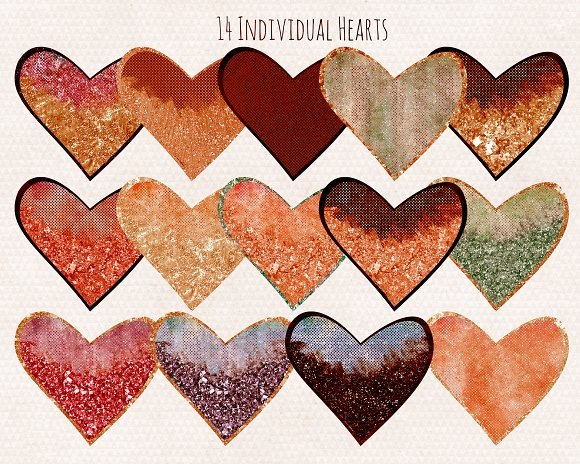 Amber Metallic Hearts Love Clipart in Illustrations - product preview 3
