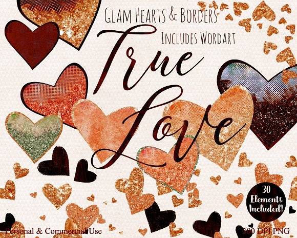Amber Metallic Hearts Love Clipart in Illustrations - product preview 4