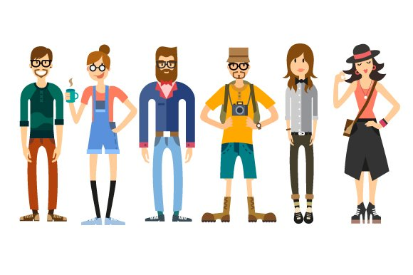 People characters.Hipsters