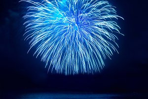 Blue holiday fireworks