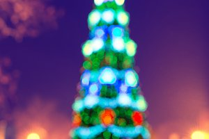 Blured green christmas tree
