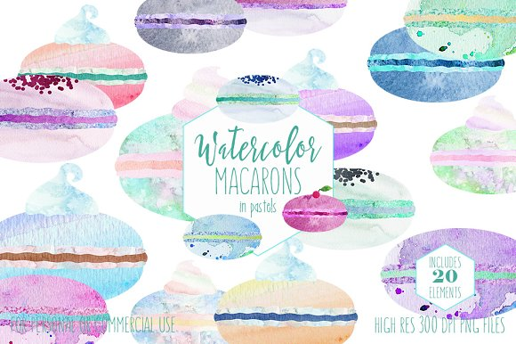 Cute Watercolor French Macarons