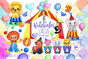 Cute Watercolor Circus Graphic Set