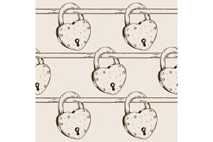Heart shaped lock seamless pattern engraving