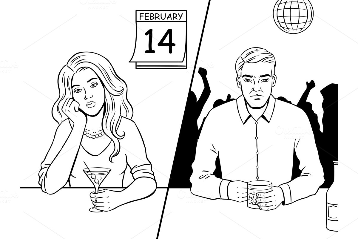Lonely people on valentine day coloring book