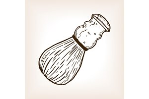 Shaving brush engraving vector illustration