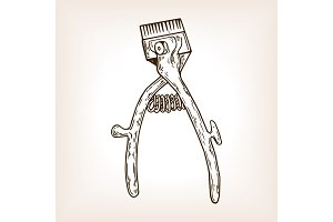 Hand hair clipper engraving vector illustration