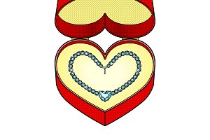Diamond necklace heart in gift box pop art vector
