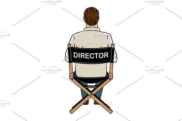 Stage director on set pop art vector illustration