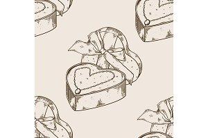 Diamond necklace heart seamless pattern engraving
