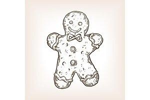 Cookie man engraving vector illustration