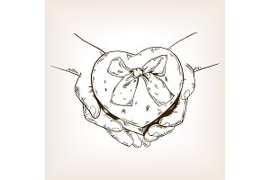 Heart shaped box engraving vector illustration