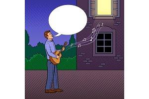Man sings serenade pop art vector illustration