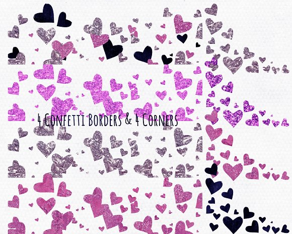 Navy & Pink Love Hearts Clipart in Illustrations - product preview 1