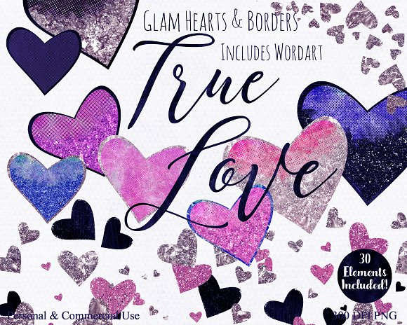 Navy & Pink Love Hearts Clipart in Illustrations - product preview 4