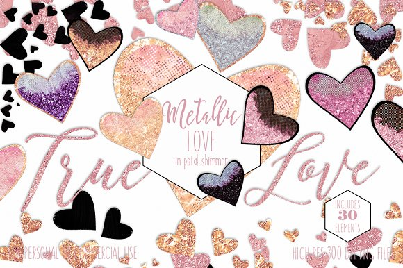 Blush Pink Peach & Gold Hearts in Illustrations