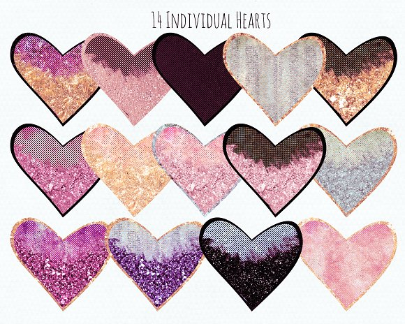Blush Pink Peach & Gold Hearts in Illustrations - product preview 1