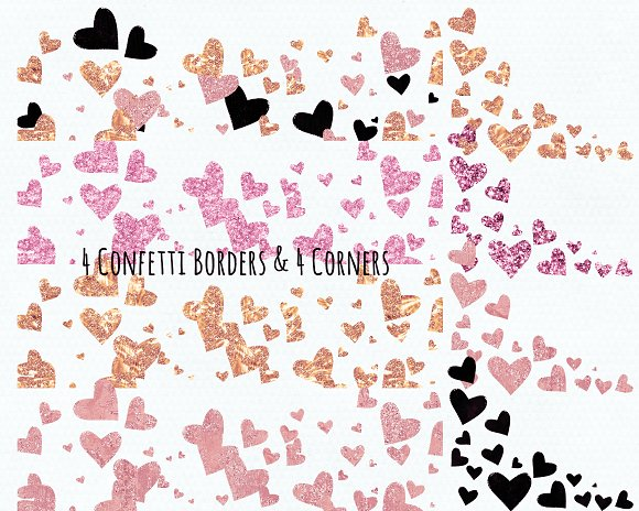 Blush Pink Peach & Gold Hearts in Illustrations - product preview 2