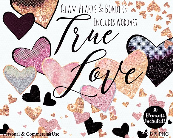 Blush Pink Peach & Gold Hearts in Illustrations - product preview 4