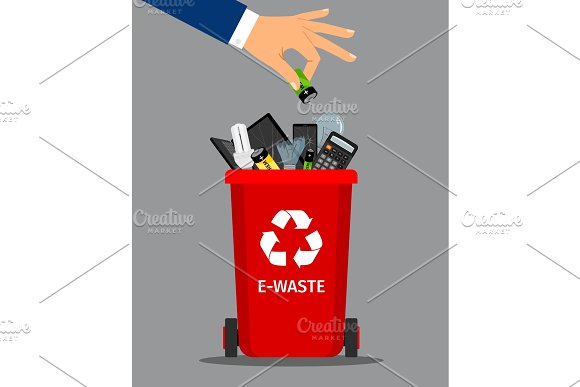 Businessman hand put battery in trash