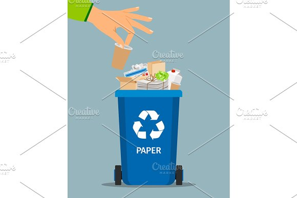 Woman hand throws garbage