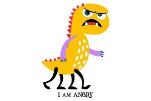 Angry yellow monster print design