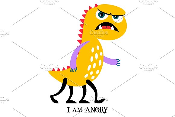 Angry yellow monster print design in Objects