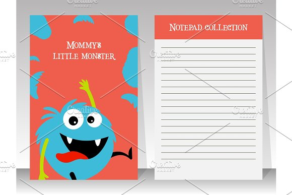 Cute blue monster note book template