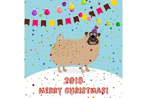 Big puppy 2018 merry christmas card