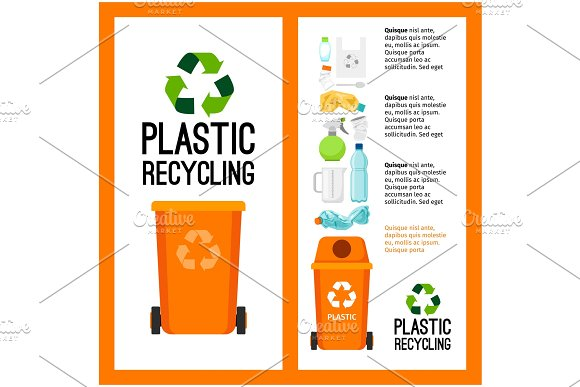 Garbage orange container info with plastic