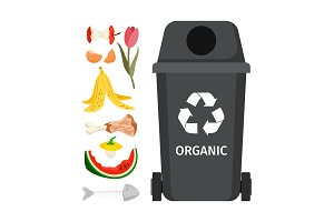 Grey garbage can with organic elements