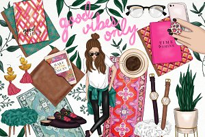Planner Trendy Girl Fashion Clip Art
