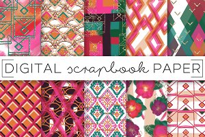 Pink and Orange Boho Digital Papers
