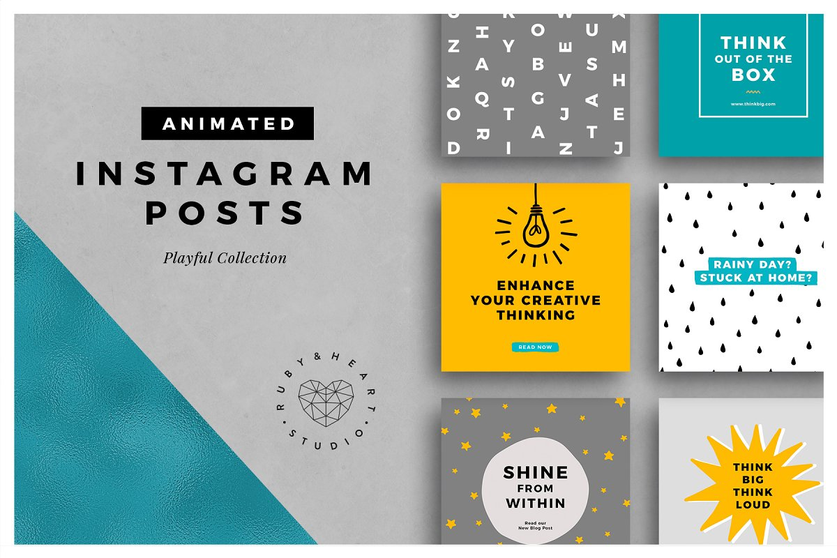 31901d1aad61a ANIMATED Playful Instagram Posts ~ Instagram Templates ~ Creative Market